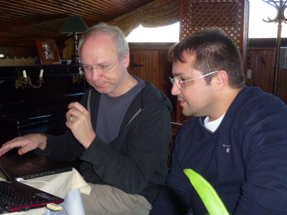 Bill and Gokcenur at work