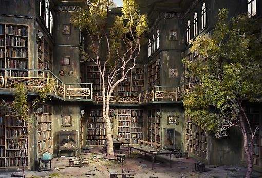 library in ruins