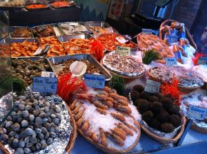 seafood stall in Rue Mouffetard