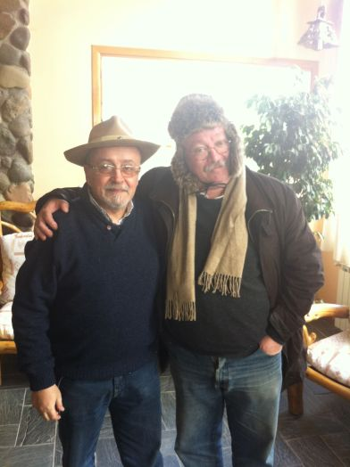 Explorer and hired secret agent Jorge Aulicino with entrepreneur extraordinaire Jorge Fondebrider, prepared for penultimate leg of Patagonian trip in Casa de Piedra, Trevelin.