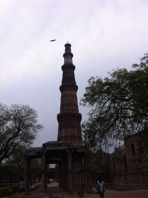 Qutub Minar tower, with vulture, Delhi