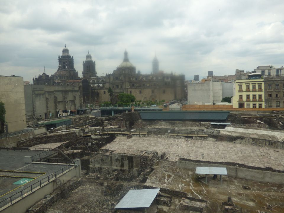 Templo mayor, with cathedral behind.