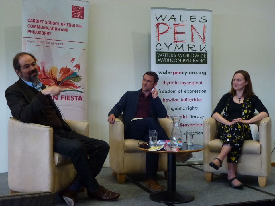Juan Villoro, Owen Sheers and Francesca Rhydderch at this year's Fiction Fiesta, held at the Wales Millennium Centre, Cardiff